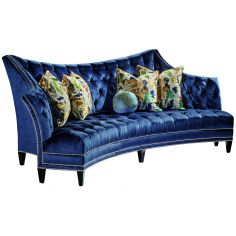 Contemporary style blue tufted sofa