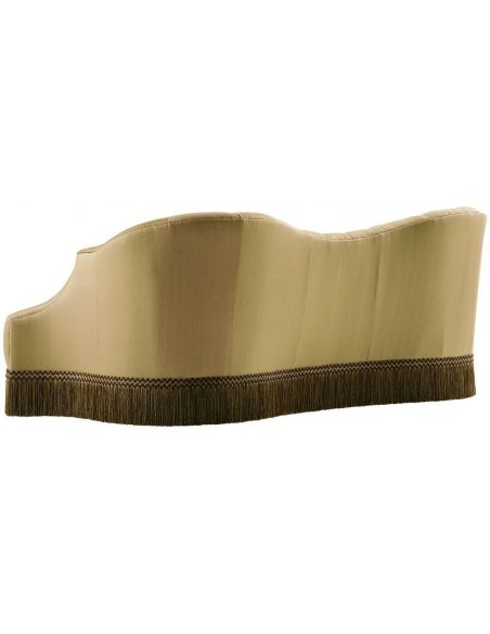 SOFA, COUCH & LOVESEAT Bisque colored sofa with beautiful curved lines and fringed skirt