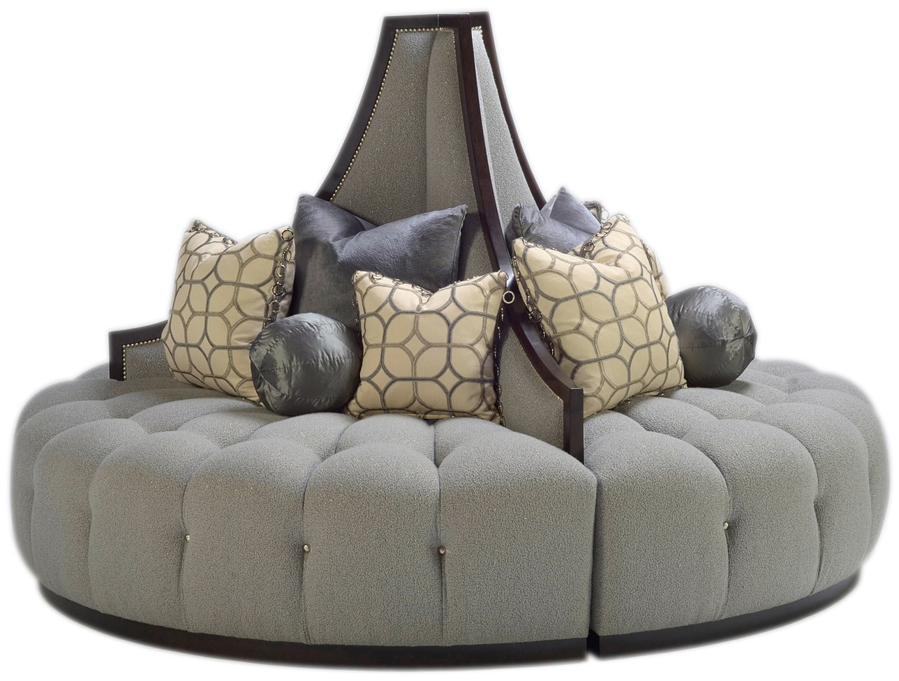 Elegant Dove Grey Round Sofa