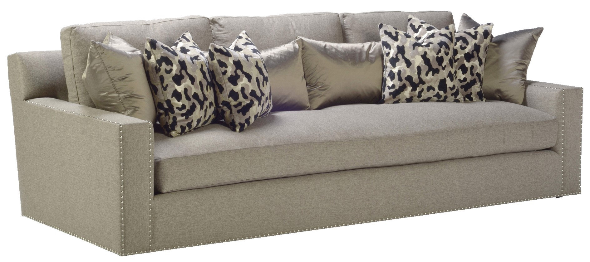 Nail head trim sofa gray fabric sofa with nailhead trim for Grey sectional sofa with nailhead trim