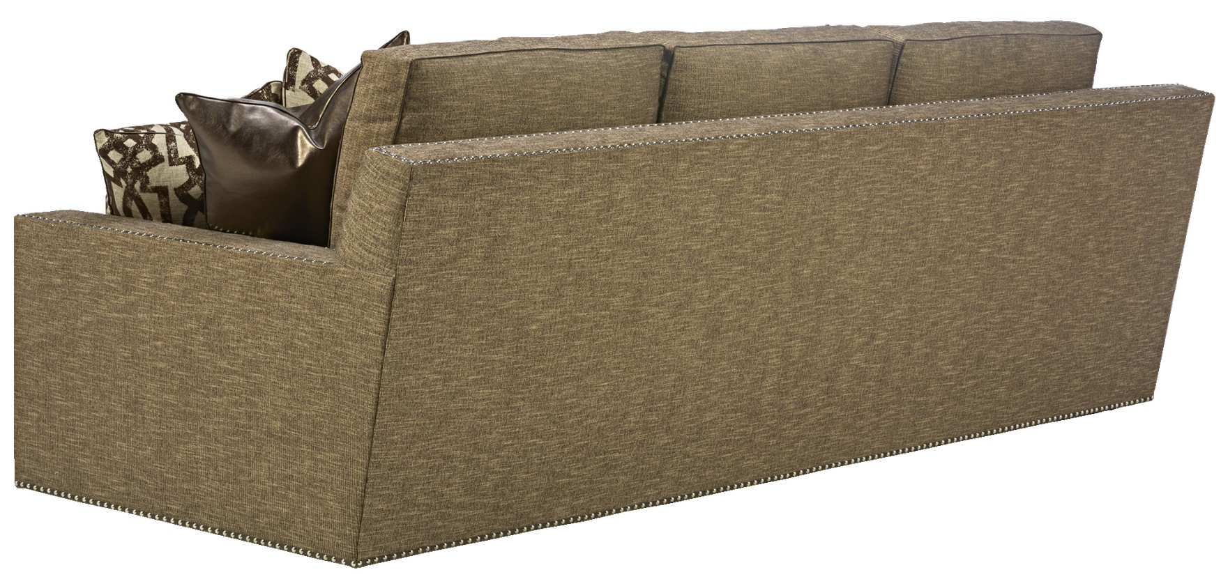 Sleek steal grey sofa with chic nailhead trim