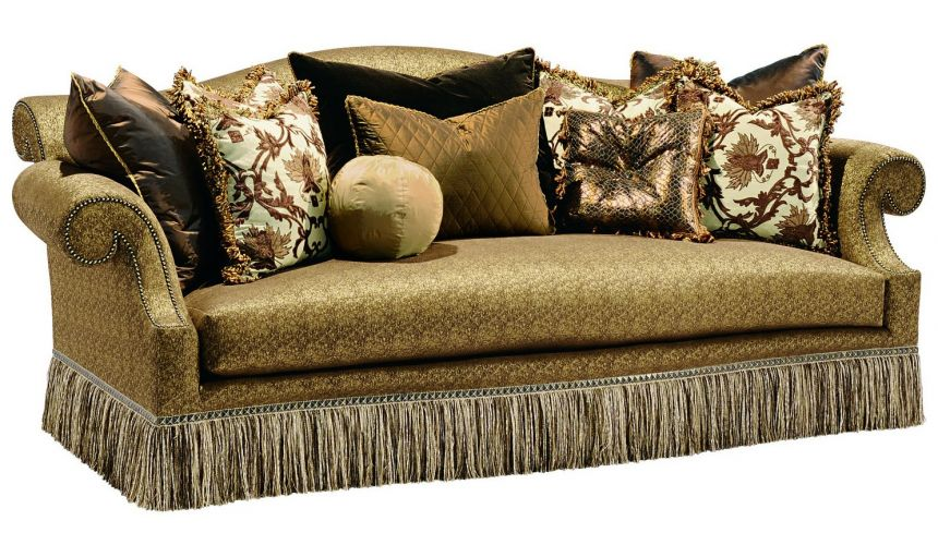 SOFA, COUCH & LOVESEAT Rolled back sofa with a chic fringed skirt