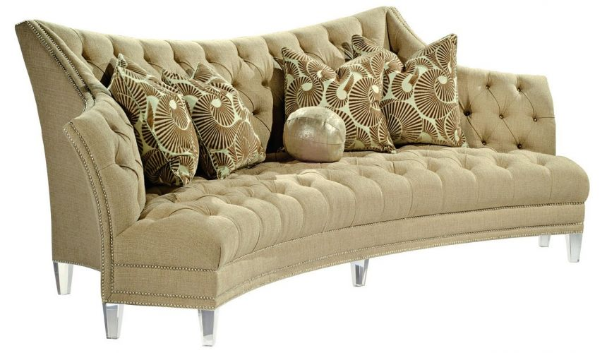 SOFA, COUCH & LOVESEAT Contemporary style sofa covered in a sophisticated oatmeal fabric