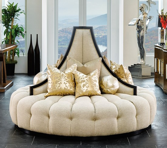 Elegant Art Deco Inspired Round Sofa