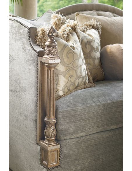 French inspired classic sofa with intricate caving