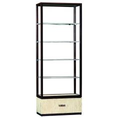 Display case with glass shelves and inlay detail on the drawer