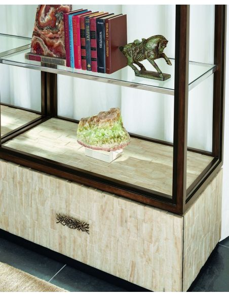 Breakfronts & China Cabinets Display case with glass shelves and inlay detail on the drawer