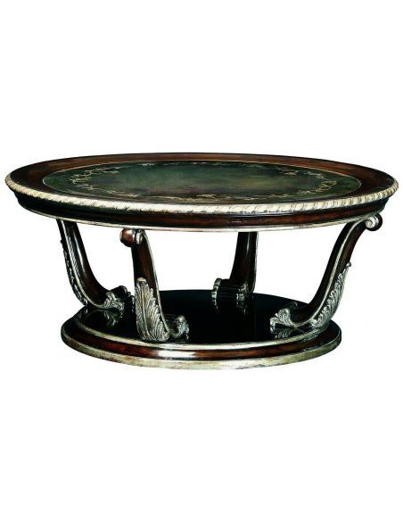 Coffee Tables Round cocktail table with decorative metal work