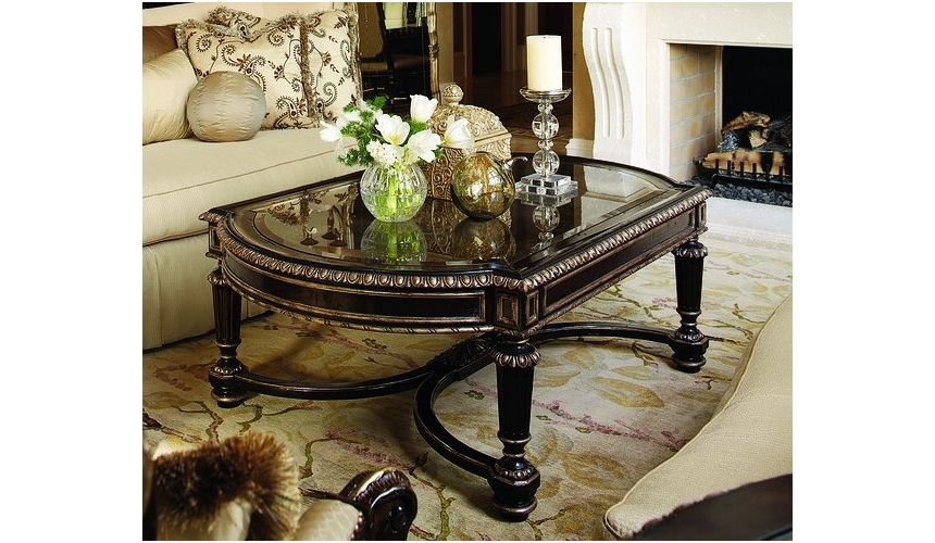 Round and Oval Coffee tables Cocktail table with beautiful metal work detail