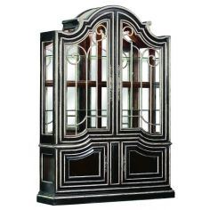 Glass front china cabinet with art deco influence