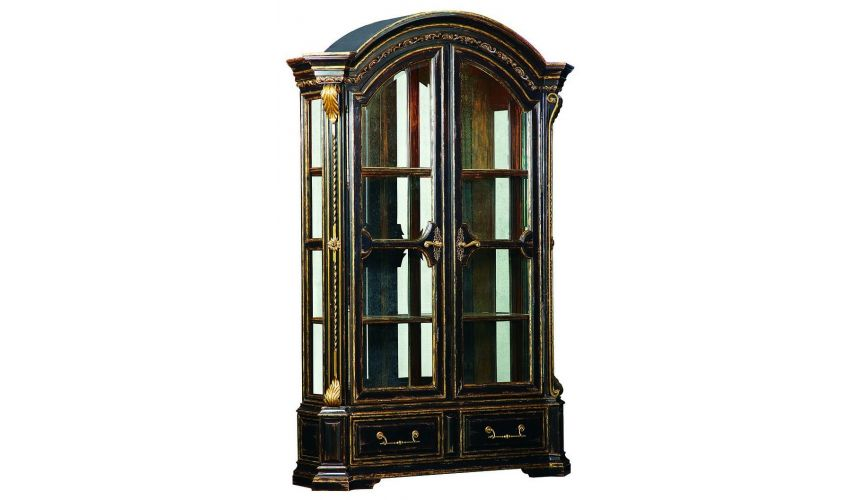 Display Cabinets and Armories Diplay case with double glass doors and metal work detail
