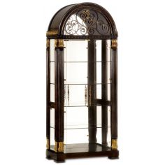 Glass china cabinet with scrolling metal work