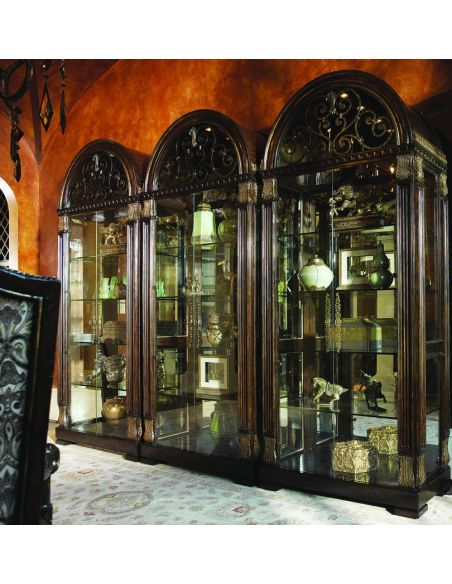 Breakfronts & China Cabinets Glass china cabinet with scrolling metal work