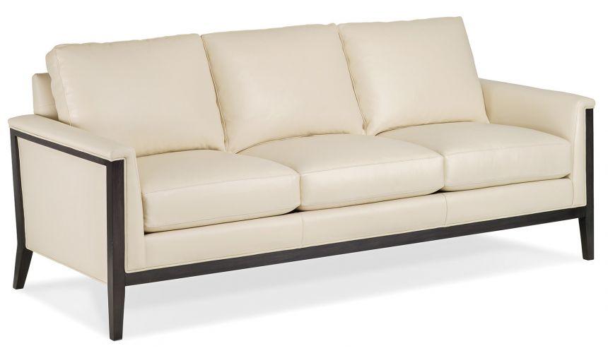 Modern white leather sofa