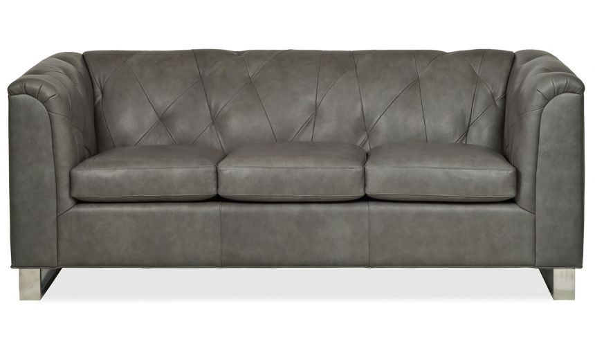 Dove grey leather sofa
