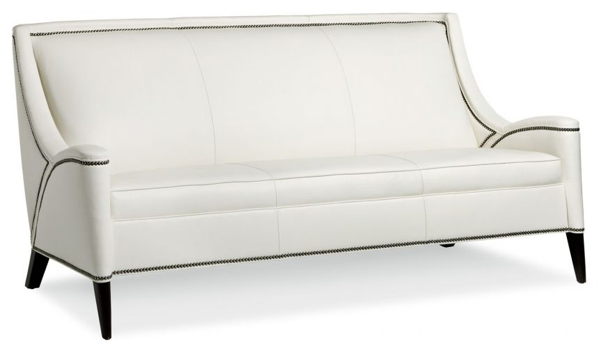 Contemporary ivory leather sofa