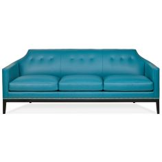 Contemporary peacock blue leather sofa