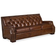 Brown leather embossed sofa