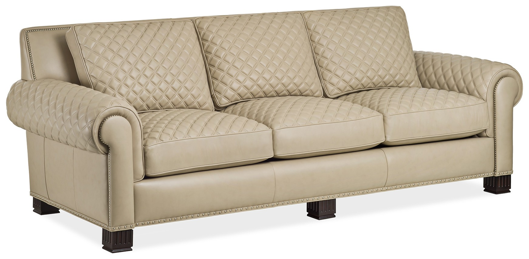 Quilted cream leather sofa - Bernadette Livingston : quilted sofa - Adamdwight.com