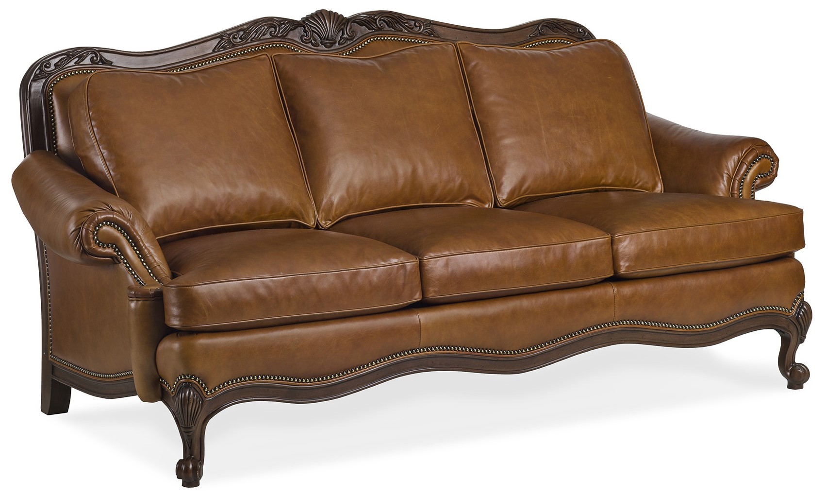Chestnut brown leather sofa
