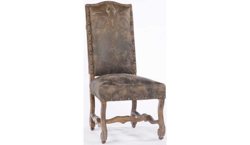 Western Furniture Leather nail head trim Chair