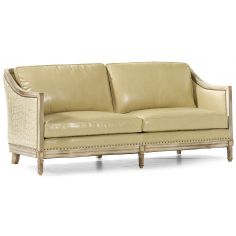 Embossed ivory leather sofa