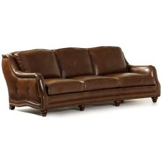 Umber brown leather sofa