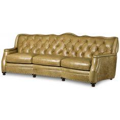 Tufted tan leather sofa