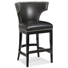 Black leather curved back bar stool