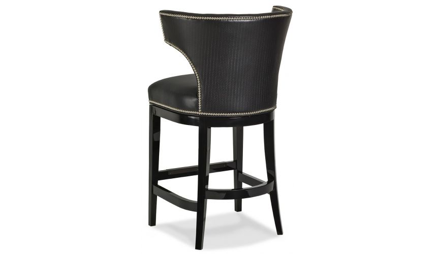 Black Leather Curved Back Bar Stool