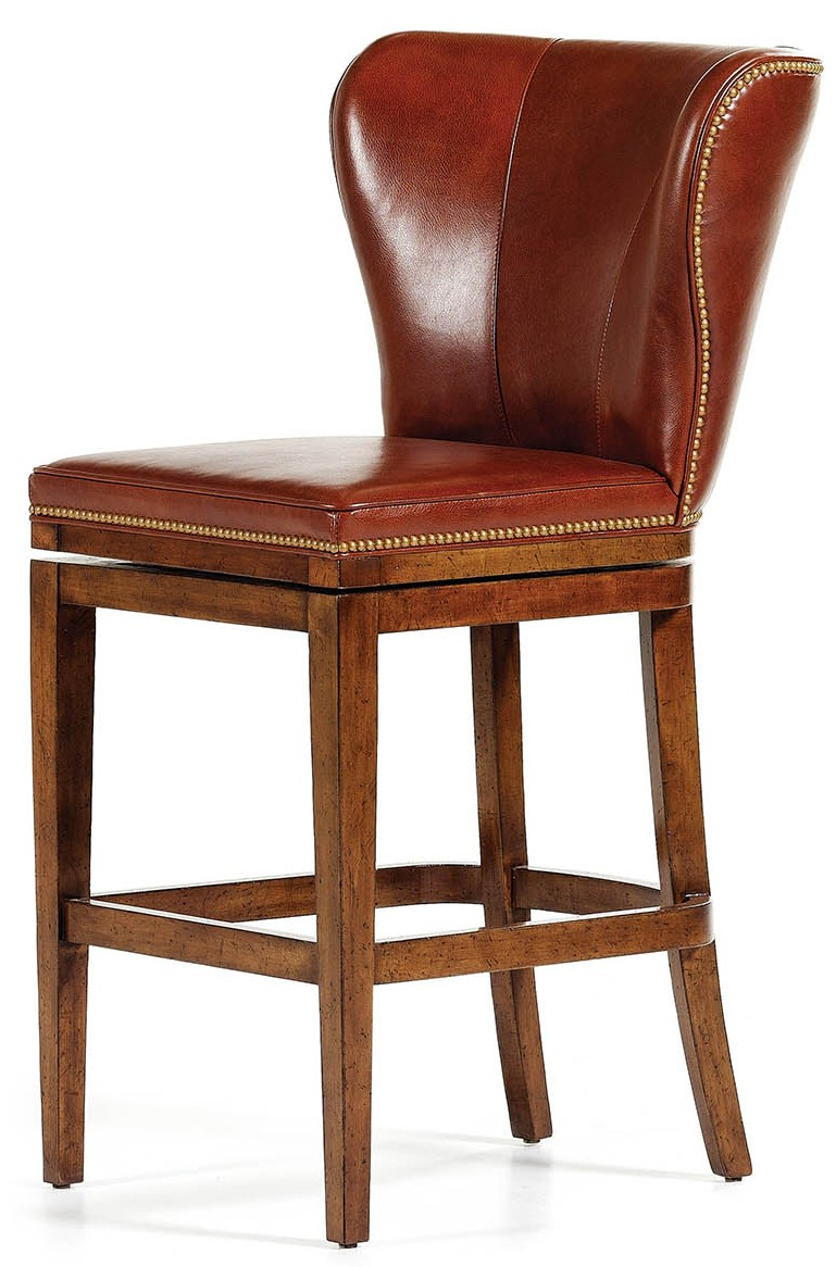 Brown leather high back bar stool for Luxury leather bar stools