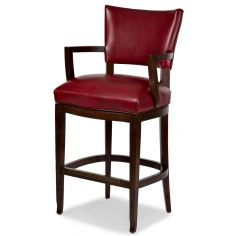Red leather bar stool with arms