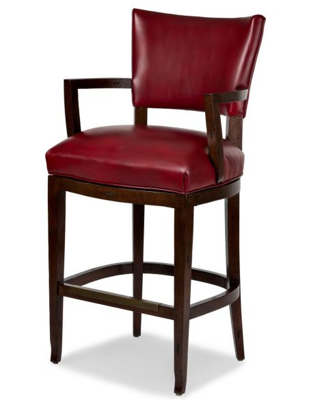 BAR AND COUNTER STOOLS Red leather bar stool with arms