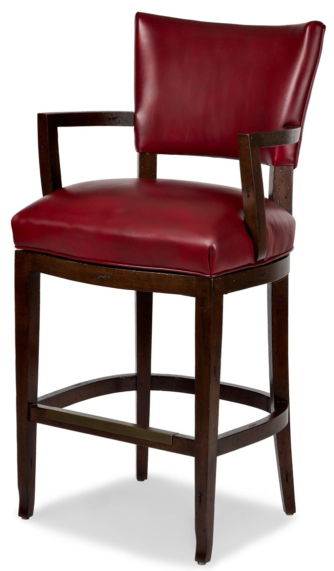 Red leather bar stool with arms for Luxury leather bar stools