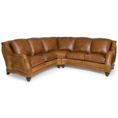 Chestnut brown leather sectional