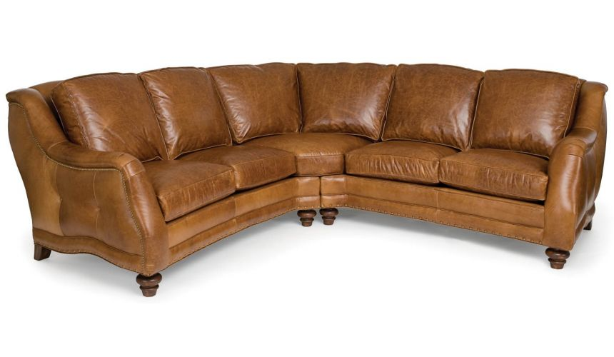SECTIONALS - Leather & High End Upholstered Furniture Chestnut brown leather sectional