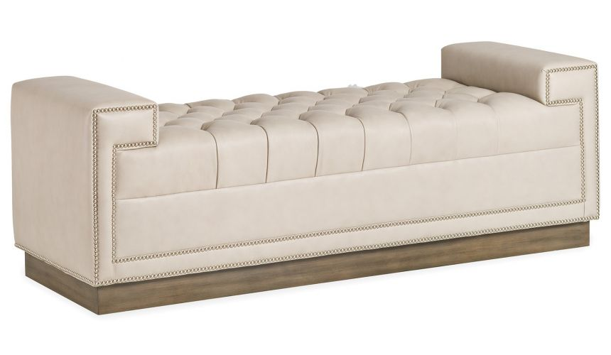 SETTEES, CHAISE, BENCHES Modern platinum leather bench