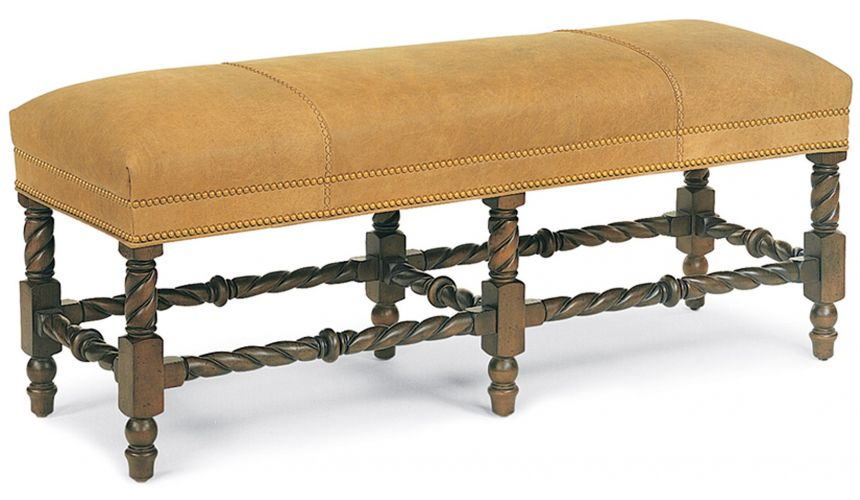 SETTEES, CHAISE, BENCHES Leather and wood bench