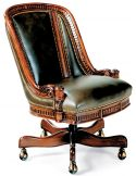 Intricately carved swivel office chair