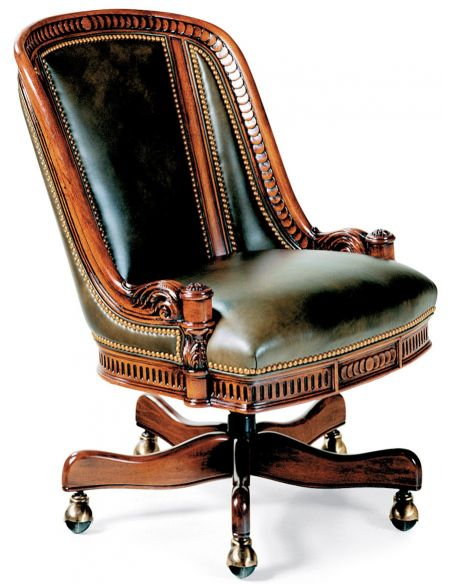 Office Chairs Intricately carved swivel office chair