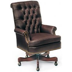 Chocolate leather swivel office chair