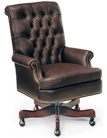Office Chairs Chocolate leather swivel office chair