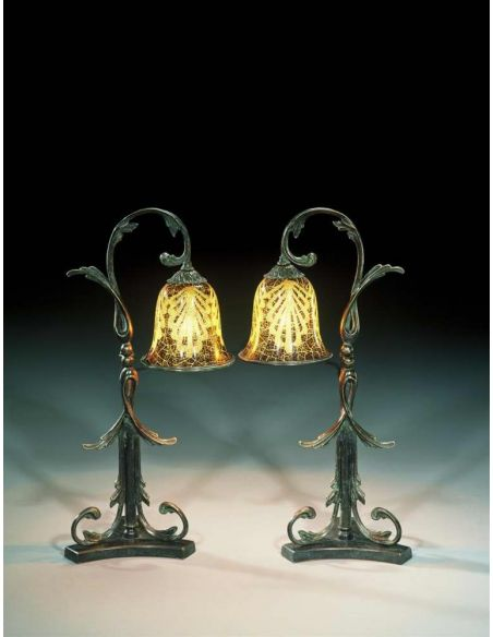 Lighting luxury furniture bronze Art Nouveau floral table lamp