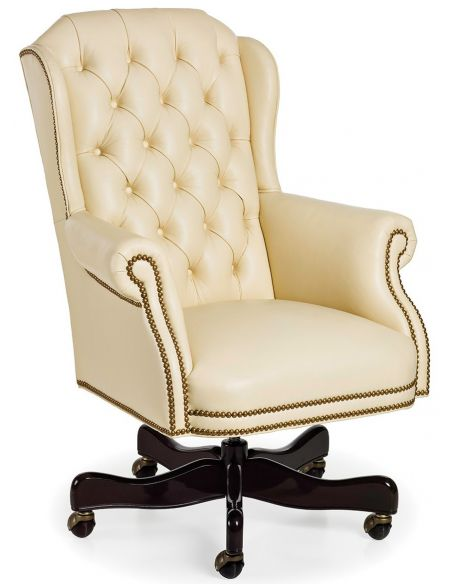 Office Chairs Ivory leather office chair