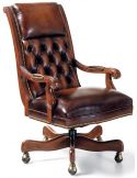 Classic hand waxed leather swivel office chair