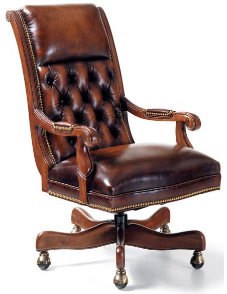 Office Chairs Classic hand waxed leather swivel office chair