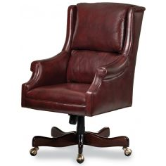 Cordovan leather wing backed office chair