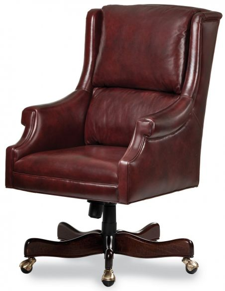 Office Chairs Cordovan leather wing backed office chair