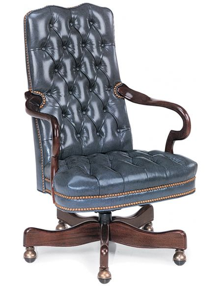 Office Chairs Blue leather office chair