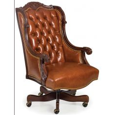 Tufted caramel leather office chair
